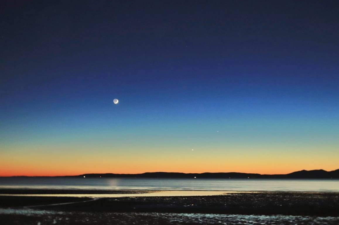 Ayrshire coast, Moon and the stars, Scotland