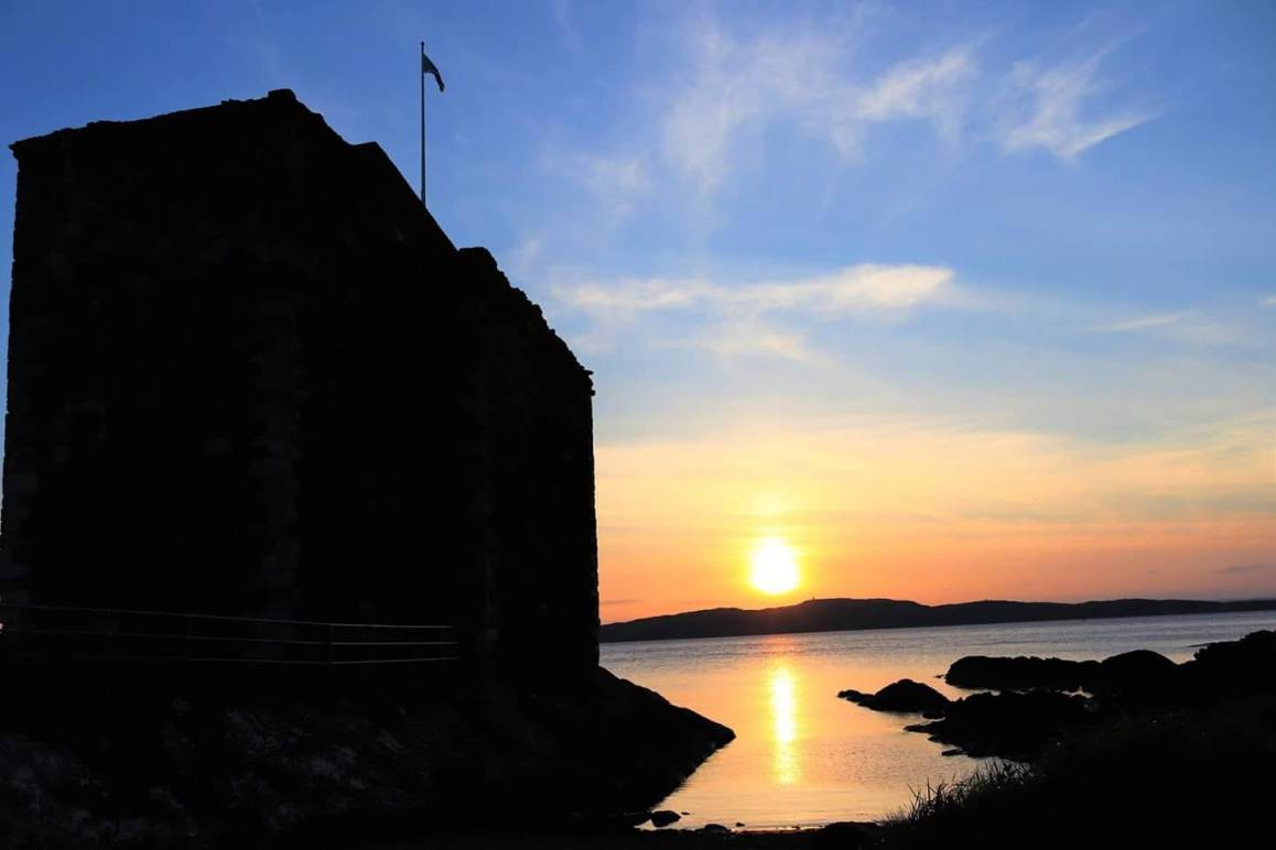 Ayrshire coast, Scotland, Portencross castle